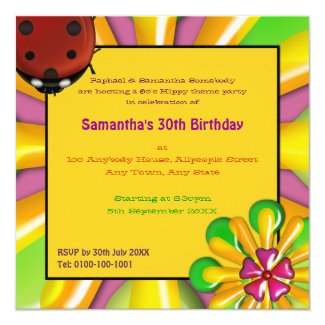 Retro Psychedelic Vinyl Record Party Invitations