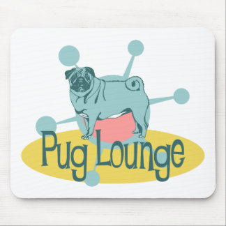 Retro Pug Lounge Mouse Pad