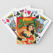 Retro Pulp Magazine Design Detective Pinup Playing Bicycle Playing Cards