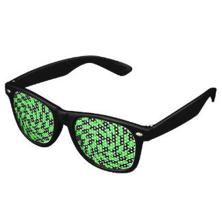 Retro punk black and neon green checkerboard wayfarer sunglasses