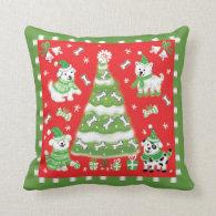 Retro Puppy Dog Christmas Throw Pillows