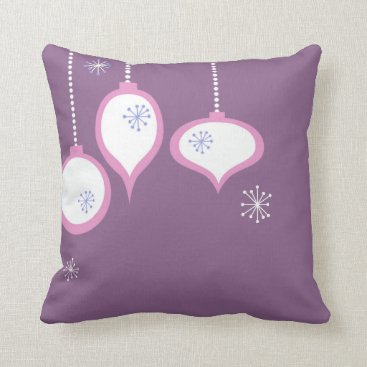 Christmas Themed Retro Purple 70's Christmas Throw Pillow