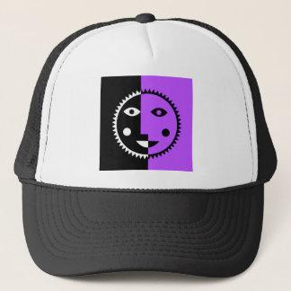 Retro Purple Abstract Sun Trucker Hat