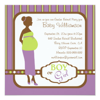Retro Purple and Green Baby Gender Reveal Party Invitation