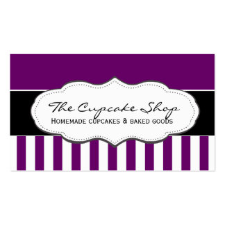 Retro Purple and White Striped Business Cards