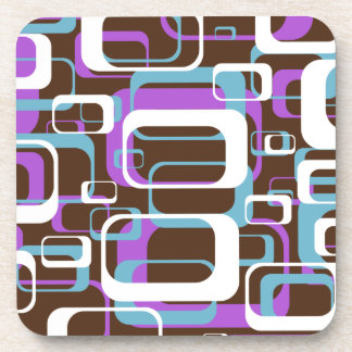 Retro Purple Brown 60s Pattern Coaster