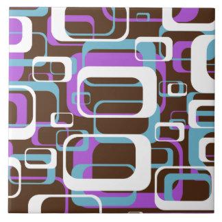 Retro Purple Brown 60s Pattern Tile