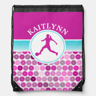 Retro Purple Circles Girls Soccer by Golly Girls Drawstring Bag