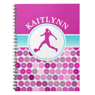 Retro Purple Circles Girls Soccer by Golly Girls Spiral Notebook