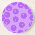 Retro Purple Circles Pattern. Beverage Coaster