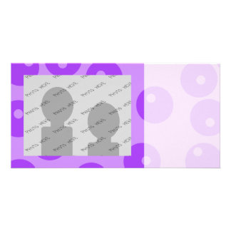 Retro Purple Circles Pattern. Custom Photo Card