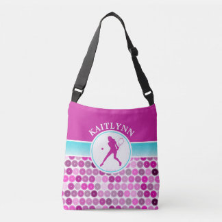Retro Purple Circles Tennis by Golly Girls Crossbody Bag