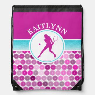 Retro Purple Circles Tennis by Golly Girls Drawstring Backpack