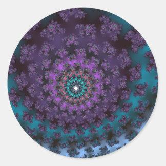 Retro Purple Classic Round Sticker