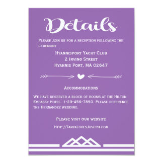 Retro Purple Details Wedding Geometric Triangles Card
