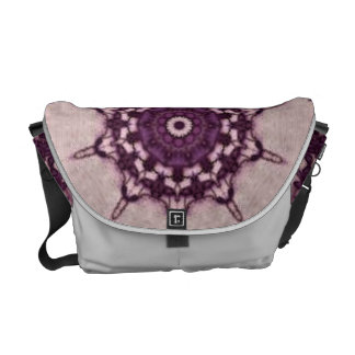 Retro Purple Doily Print Messenger Bag