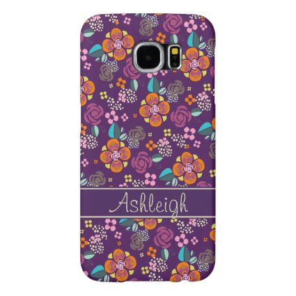 Retro Purple Floral Pattern Samsung Galaxy S6 Cases