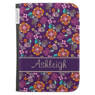 Retro Purple Floral Pattern Kindle Case