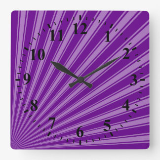Retro Purple Funky Sun Rays Background Square Wallclocks
