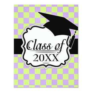 retro purple green checkered graduation grad card