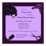 "Retro Purple Hair Stylist Custom Invitations 5.25"" Square Invitation Card"