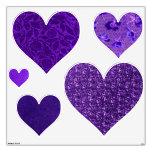 Retro Purple Hearts Heart Wall Decals