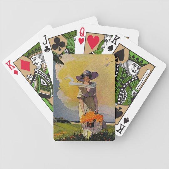 Retro Purple Lady Playing Cards