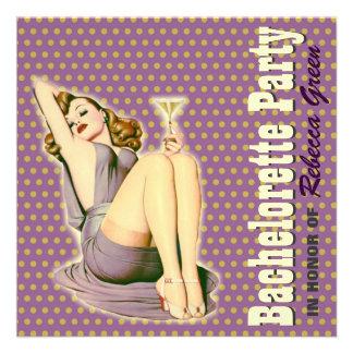 retro purple martini bachelorette party invitation