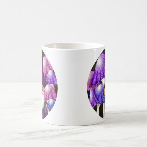 Retro Purple Mushrooms and Vintage Gnome Classic White Coffee Mug