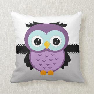 Retro Purple Owl Throw Pillow