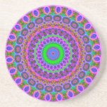 Retro Purple Pattern Fractal Art Drink Coasters