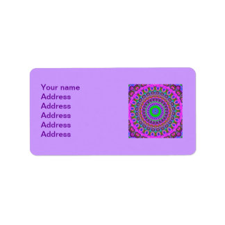 Retro Purple Pattern Fractal Art Label