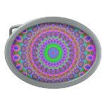 Retro Purple Pattern Fractal Art Oval Belt Buckle
