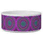 Retro Purple Pattern Fractal Art Pet Bowl