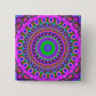 Retro Purple Pattern Fractal Art Pinback Button