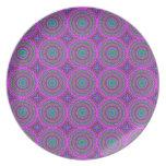 Retro Purple Pattern Fractal Art Plate