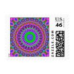 Retro Purple Pattern Fractal Art Postage Stamps