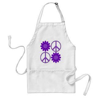Retro Purple Polka Dot Flowers and Peace Symbol Adult Apron