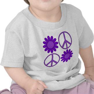 Retro Purple Polka Dot Flowers and Peace Symbol T Shirt