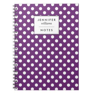 Retro Purple Polka Dots Pattern Spiral Notebook