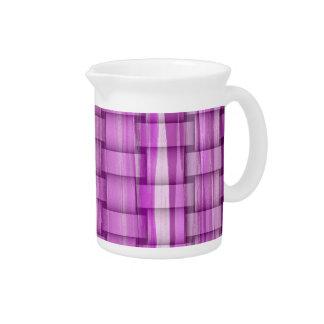 Retro purple stripes art graphic design beverage pitcher