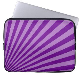 Retro Purple Sun Rays Background Computer Sleeve