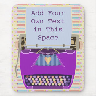 Retro Purple Typewriter Mid-Century Modern Custom Mouse Pad