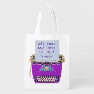 Retro Purple Typewriter Mid-Century Modern Cute Market Tote
