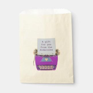 Retro Purple Typewriter Mid-Century Modern Party Favor Bag