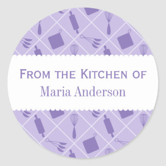 Retro Purple Untensils Round Kitchen Labels