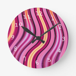 Retro purple wavy stripes pattern round clock