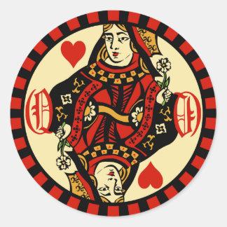 Retro Queen of Hearts Classic Round Sticker