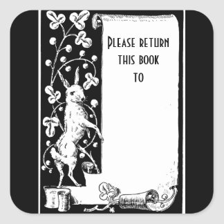 Retro rabbit and scroll bookplate Sticker