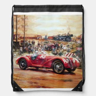 Retro racing car painting drawstring backpack